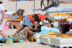 EXCLUSIVE: Alicia Keys is seen enjoying the sun with her family at the Nikki Beach in St Barts