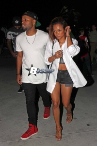*EXCLUSIVE* Karrueche Tran and a date arrive at the LA Clippers Game