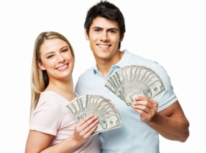 Couple Fanning Out Cash - Isolated