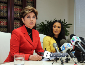 Gloria Allred gives a press conference with Floyd mayweathers ex fiancee Shantel Jackson to announce a law suit.