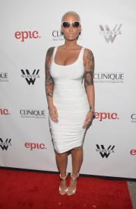 Actress Amber Rose attends the release party for Meghan Trainor's debut album