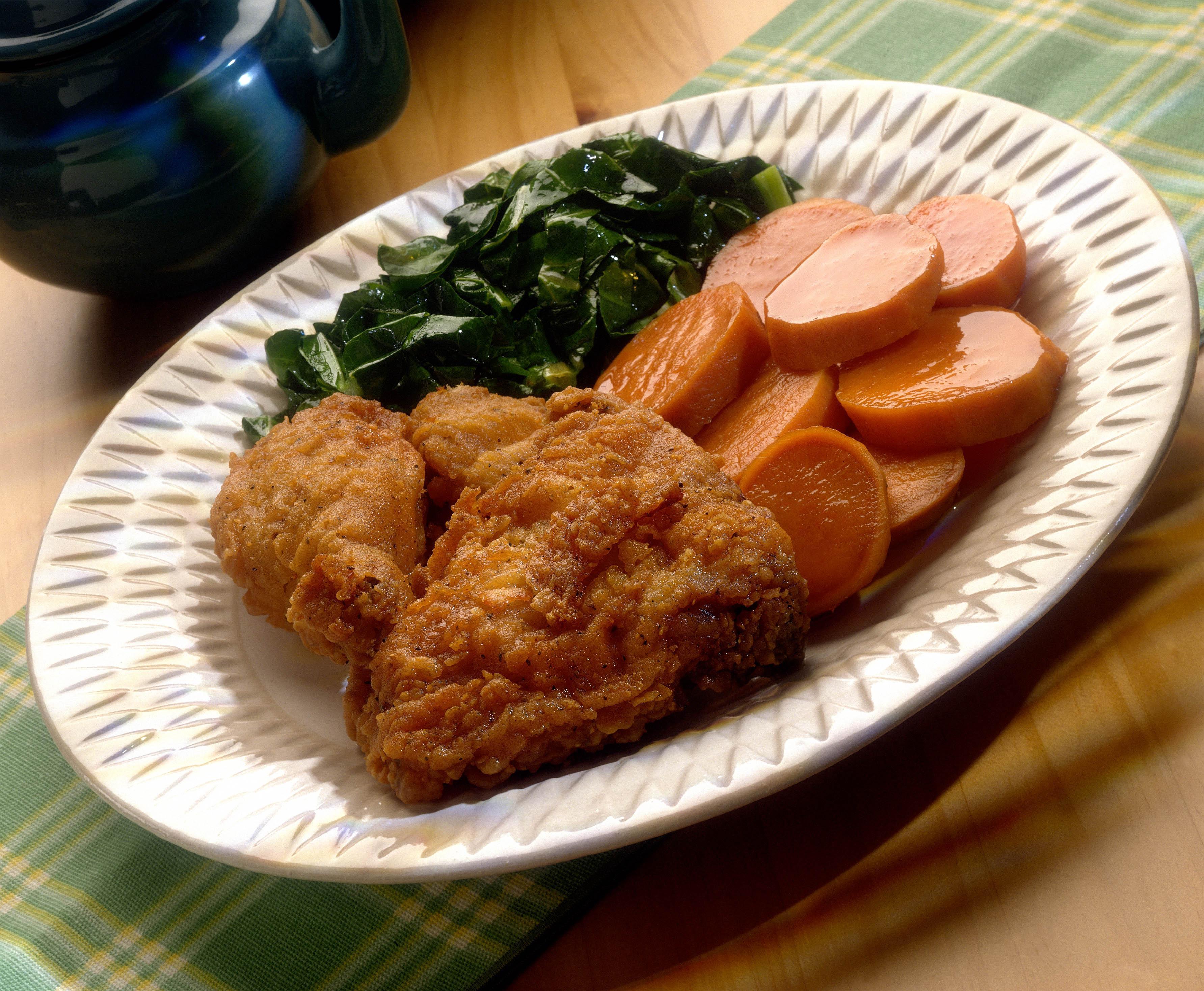 Deep Fried Chicken , Collard Greens , and Yams