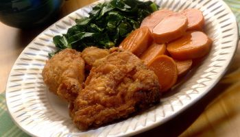 Deep Fried Chicken , Collard Greens , and Yams