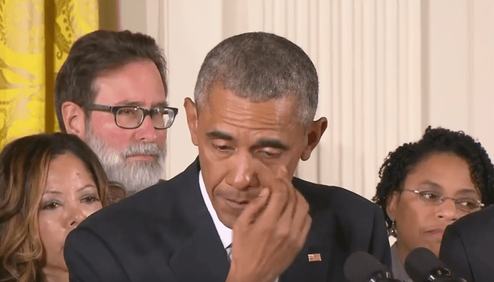 Obama crying