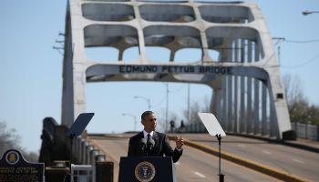U.S. president Barack Obama speaks in front of the Edmund Pettus Bridge