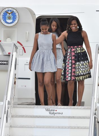 Sasha, Malia, Michelle Obama in London