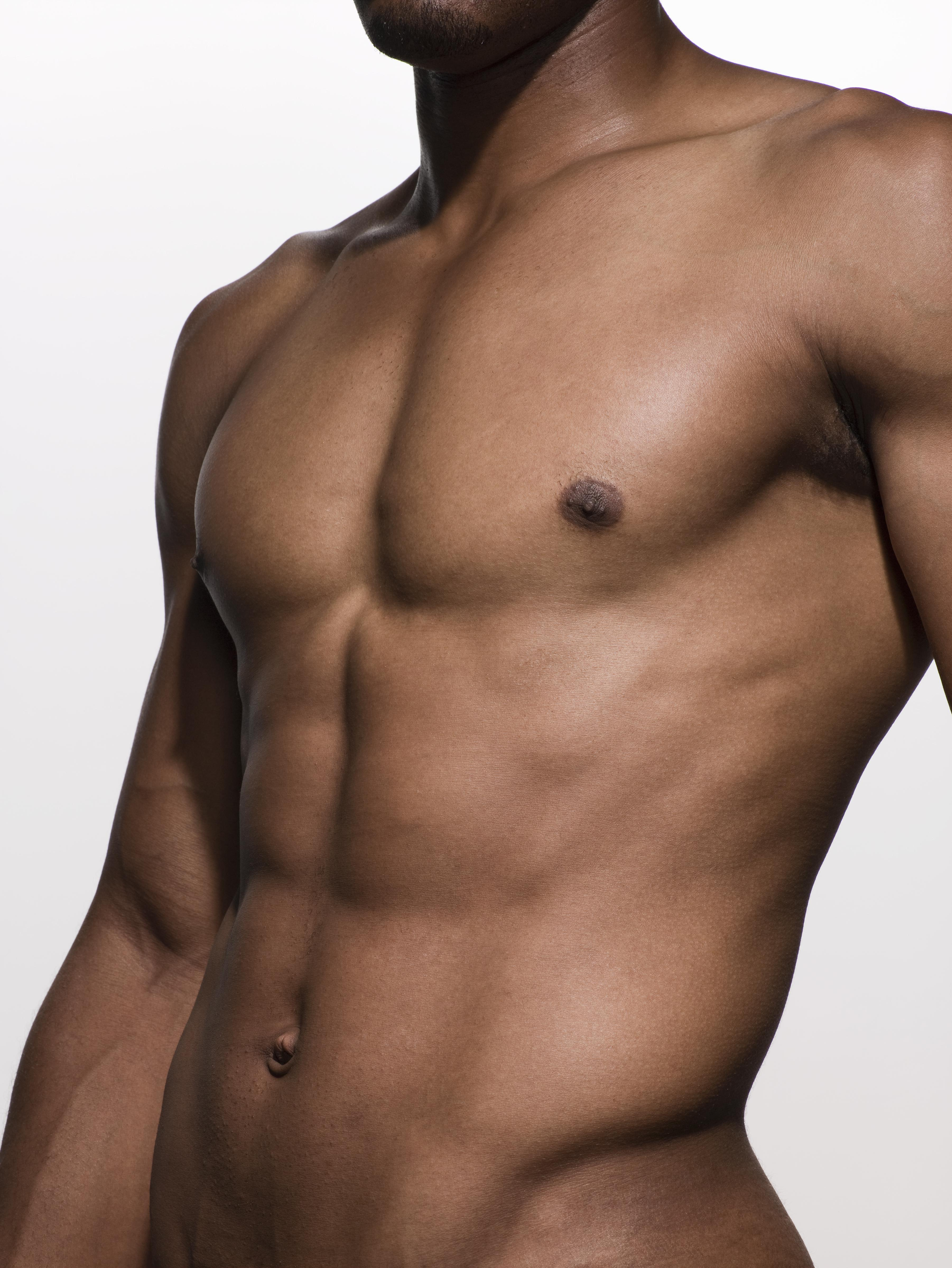 close-up of muscular man's torso