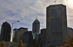 Morning sun glare over the Indianapolis skyline