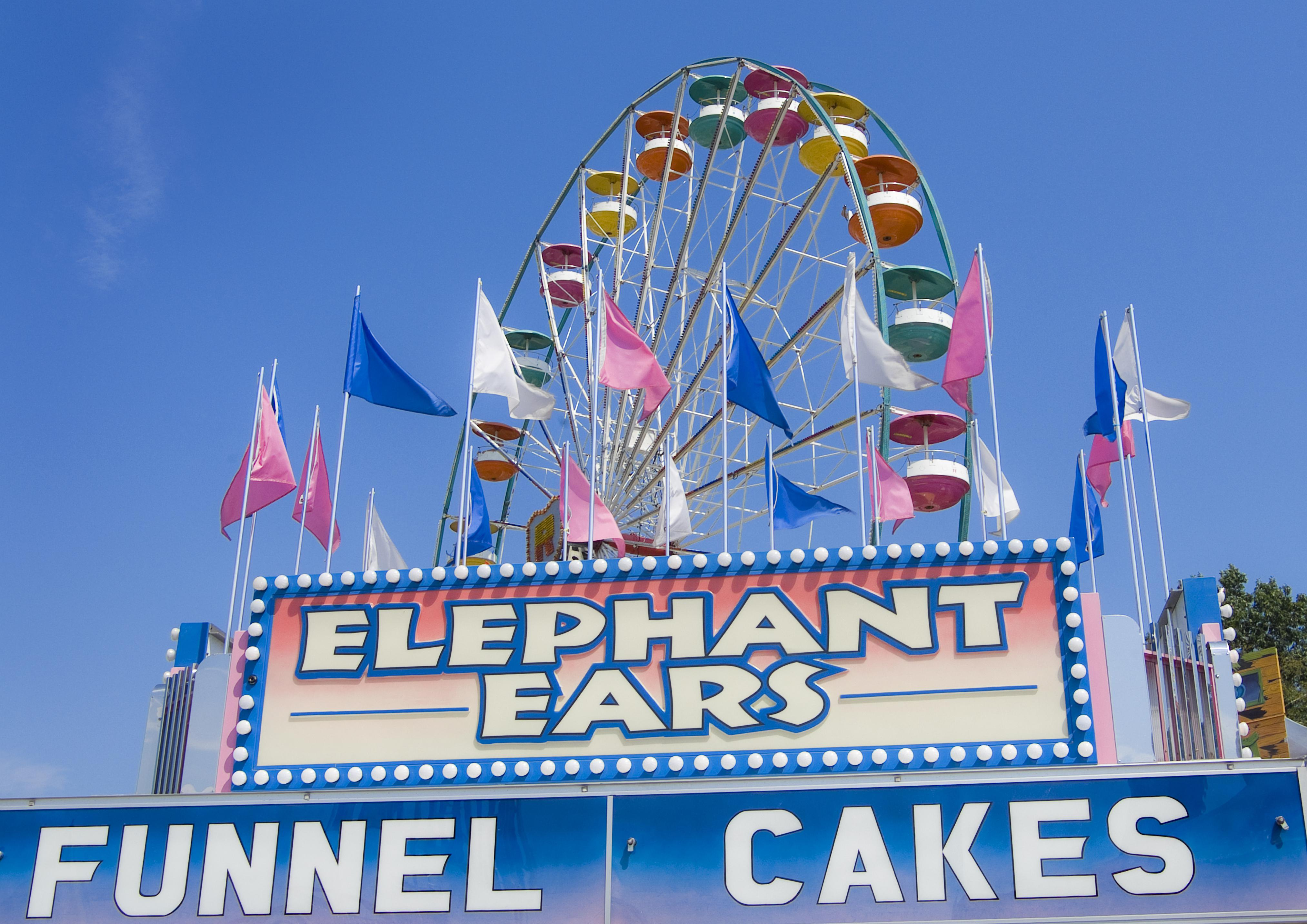 Fair rides and food booths at a traditional county fair in Essex, Vermont