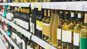 Wine bottles at supermarket