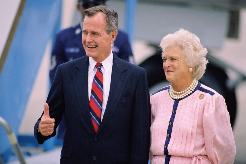 George and Barbara Bush Arriving in New Orleans