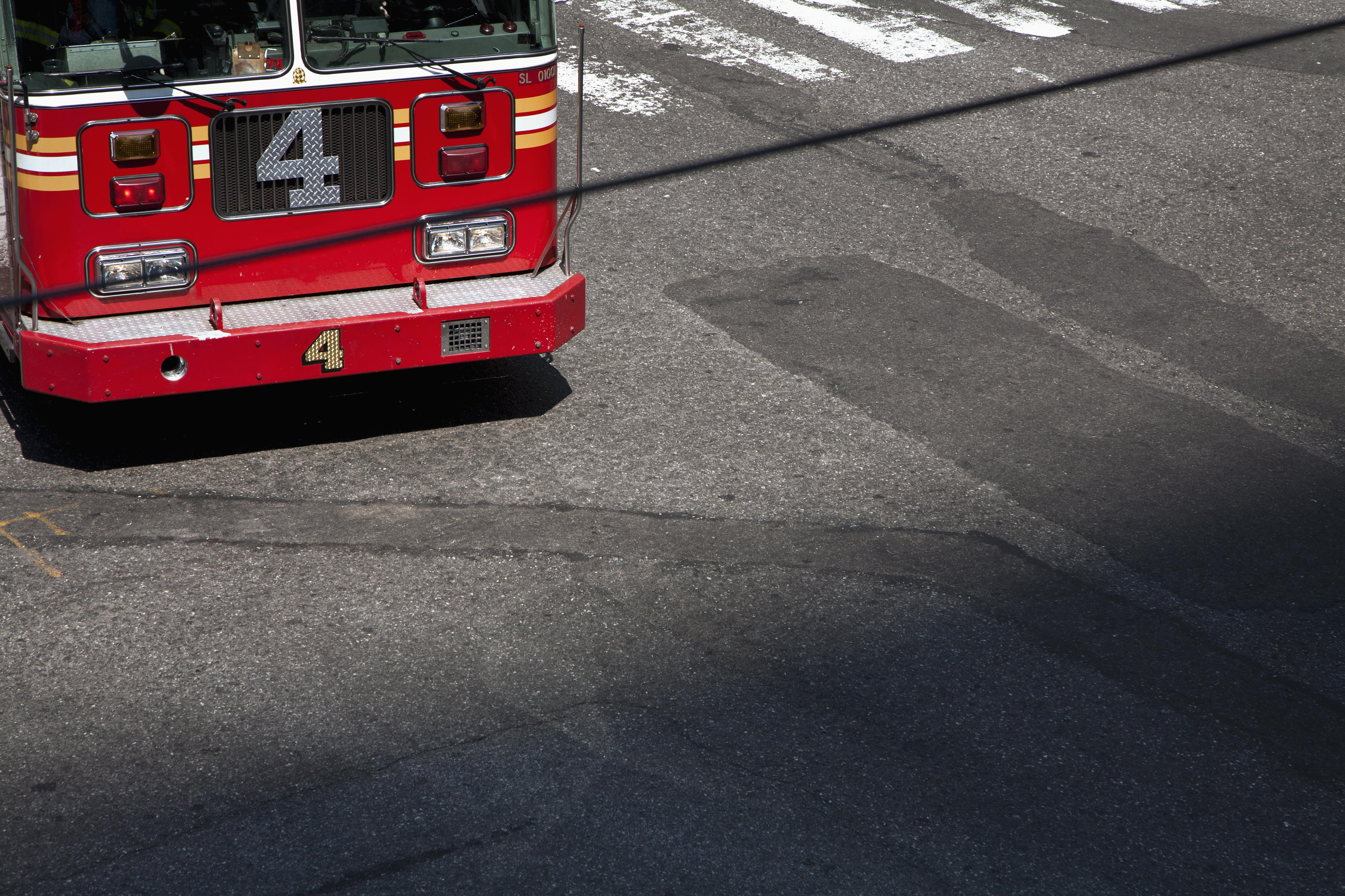 The front part of a fire truck, high angle view