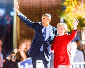 President Barack Obama and Hillary Clinton at a Hillary...