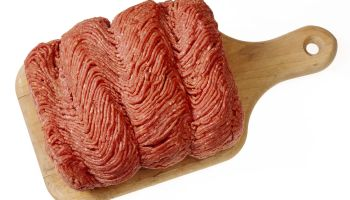Raw ground beef on cutting board