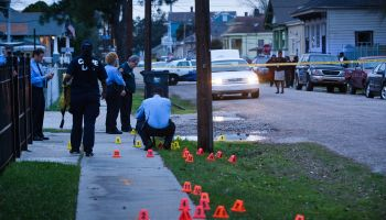 Cones Mark Spots of Shell Casings At Scene of A Shooting