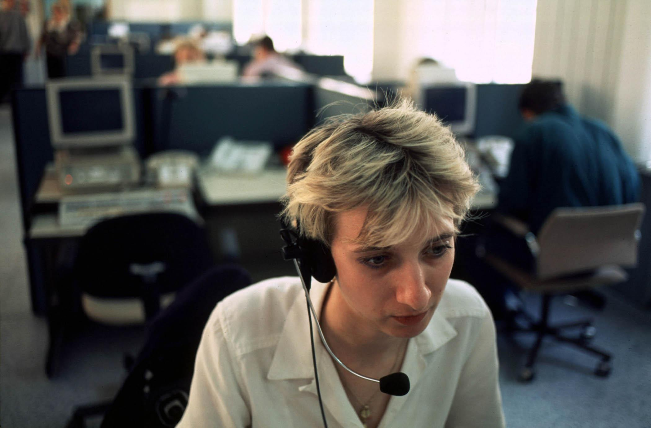 A worker at SPT Telecom