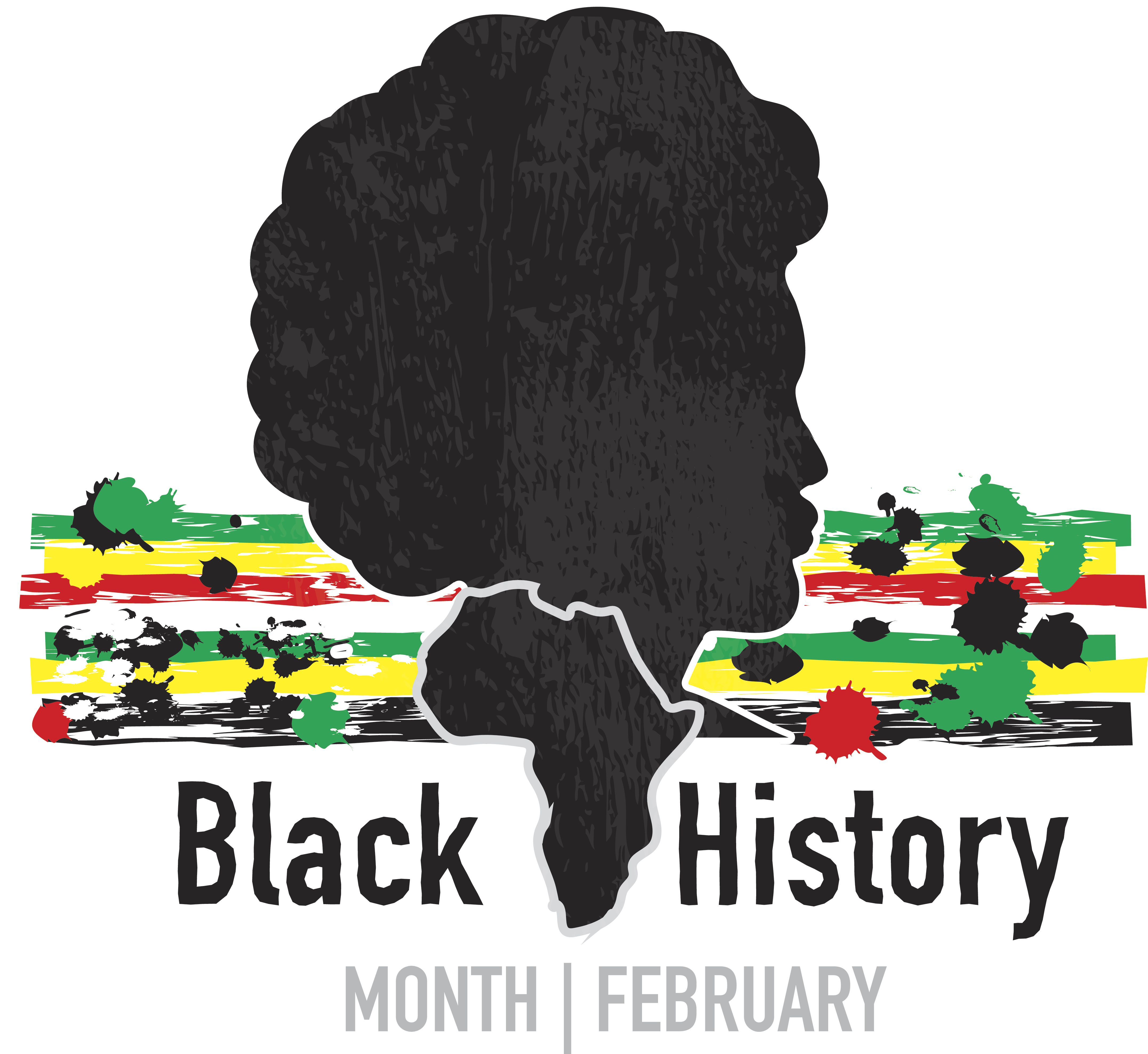Black History month emblem design with side view of man