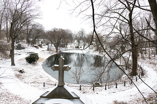 Frozen pond at Green-Wood Cemetery.