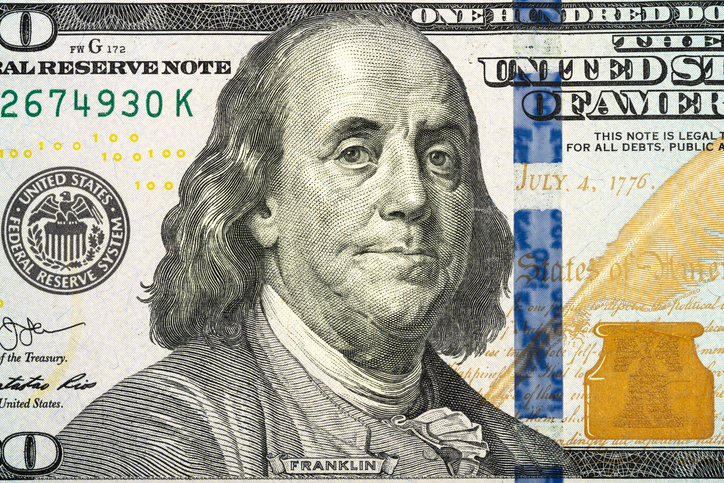 US Currency One Dollar Bill Close Up View
