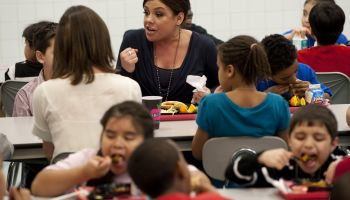 Celebrity chef Rachael Ray eats lunch wi