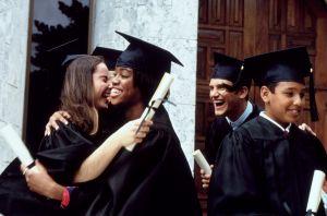 Graduates celebrating after commencement