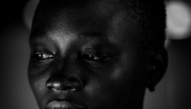 Black metallic girl portrait