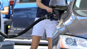 Selma Blair pumping gas