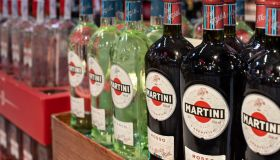 Bottles of Italian vermouth brand Martini displayed for sale...