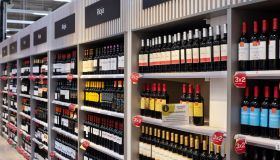Bottles of Spanish Rioja red wine displayed for sale at the...