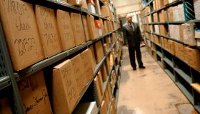 HOUSTON, CO--JANUARY 17, 2007-- Wes McCoy Director of the Criminal Bureau for the Harris County Courthouse, stands amidst shelves and shelves of stored evidence in the courthouse evidence room, which is currently housed inside the cells of an old jai