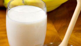 Glass of milk banana and honey
