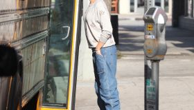 Gwen Stefani waiting for the school bus to pick up her son Kingston.