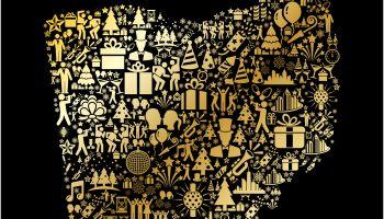 Ohio New Year Golden 2018 Celebration Vector Icon Pattern
