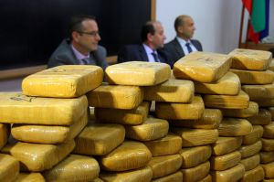 Bulgarian police investigators attend a press conference following a drugs bust
