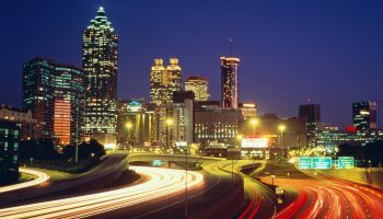 USA, Georgia, Atlanta, highway and skyline at night