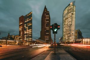 city lights of Potsdamer Platz in Berlin at blue hour