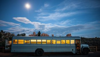 Architect Student Redesigns a School Bus as a Modular Home.
