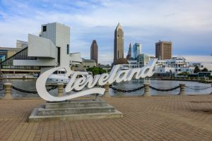 Cleveland script sign and city skyline - North Coast Harbor