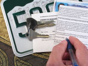 License Plate, Keys, and Papers Proving Evidence of Auto Insurance