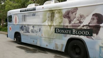 A blood bank bus.